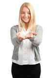 Business woman showing something on her palms Stock Photography