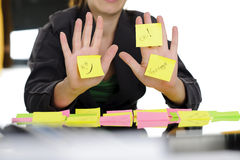 Business woman showing sticky notes Royalty Free Stock Photo