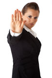 Business woman showing stop gesture Royalty Free Stock Image