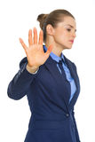 Business woman showing stop gesture Stock Photography