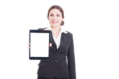 Business woman showing tablet with blank display isolated on whi Royalty Free Stock Photos