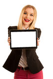 Business woman showing tablet with blank display for text or com Royalty Free Stock Photos