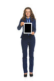 Business woman showing tablet pc blank screen Stock Photo