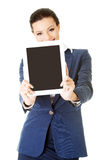 Business woman showing tablet PC with touch pad. Royalty Free Stock Photo