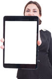 Business woman showing tablet with white or blank display Royalty Free Stock Photo