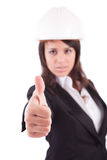 Business woman showing thumb up Stock Photos