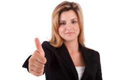 Business woman showing thumb up. Isolated over white Stock Photo