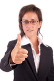 Business woman showing thumb up Stock Image