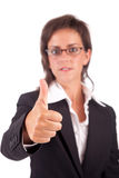 Business woman showing thumb up. Isolated over white Stock Images