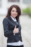 Business woman showing thumb up Royalty Free Stock Photography