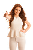 Business woman showing thumb up as a gesture for success Royalty Free Stock Photo