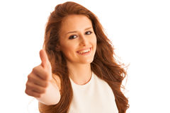 Business woman showing thumb up as a gesture for success Stock Photos