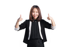 Business woman showing  thumb up hand sign smiling happy on whit Stock Images