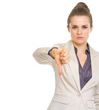 Business woman showing thumbs down Royalty Free Stock Images