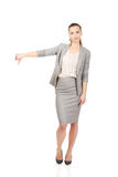 Business woman showing thumbs down. Stock Image