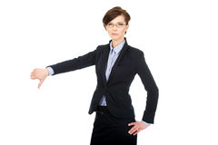 Business woman showing thumbs down. Royalty Free Stock Photos