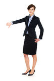 Business woman showing thumbs down. Royalty Free Stock Image