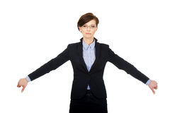 Business woman showing thumbs down. Royalty Free Stock Images