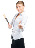 Business woman showing thumbs up Royalty Free Stock Photos