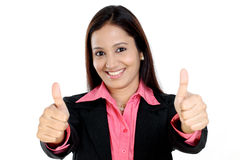 Business woman showing thumbs up royalty free stock photography
