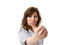 Business woman showing thumbs up. Royalty Free Stock Image