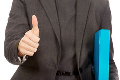 Business woman showing thumbs up. Stock Images