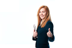 Business woman showing a thumbs up Stock Photos