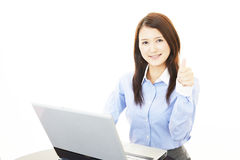 Business woman showing thumbs up sign Stock Images
