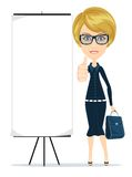 Business woman showing thumbs up, vector Royalty Free Stock Images
