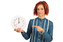 Business woman showing to twelve time Stock Photos