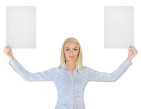 Business woman showing two empty papers Stock Image