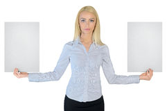 Business woman showing two empty papers Stock Images