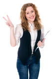 Business woman showing victory sign. Isolated on a white background Royalty Free Stock Images