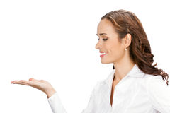 Business woman showing, on white Royalty Free Stock Photos