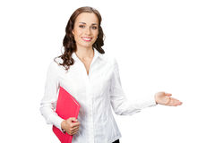 Business woman showing, on white Stock Photography