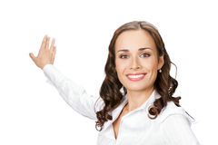 Business woman showing, on white royalty free stock photo