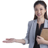Business woman showing white copy space Royalty Free Stock Images