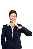 Business woman shows the direction of the left. Stock Image
