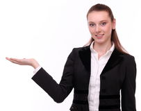 Business woman shows empty hand. Stock Image