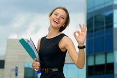Business woman shows that everything is OK Stock Photography