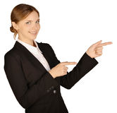 Business woman shows forefinger ahead of yourself Royalty Free Stock Photography