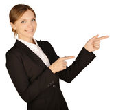 Business woman shows forefinger ahead of yourself Stock Photography