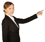 Business woman shows forefinger ahead of yourself Stock Photos