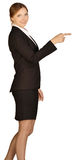 Business woman shows forefinger forward. white Royalty Free Stock Photo
