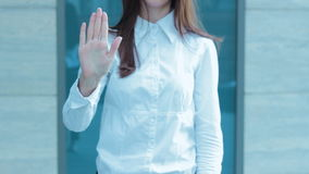 Business woman shows gesture STOP stock video