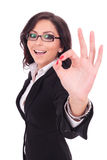Business woman shows ok sign Royalty Free Stock Image