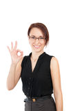 Business woman shows okay Stock Photo
