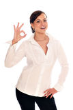Business woman shows a sign ok Royalty Free Stock Photo