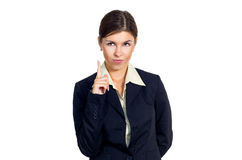 Business woman shows the upward direction. Royalty Free Stock Image