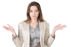 Business woman shrugs unsure of the answer Stock Photography